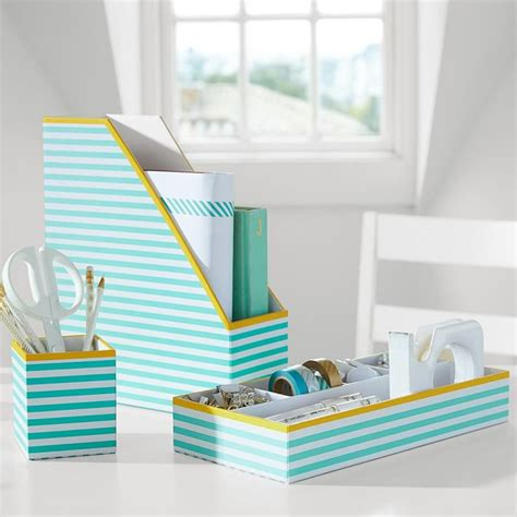 Printed Stripe Desk Accessories Everything Turquoise Stylish Desk Organizers