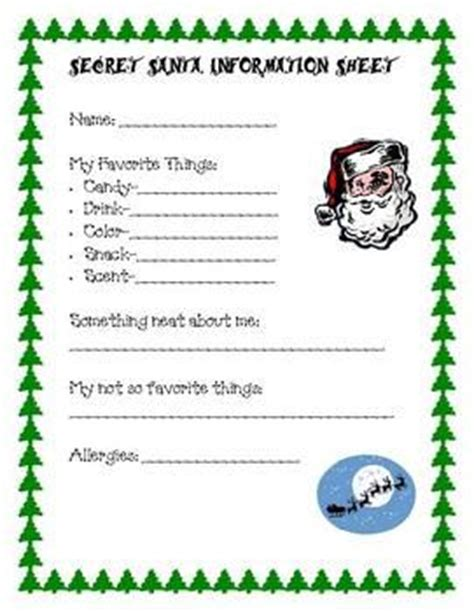 secret santa information sheet teacherspayteachers com