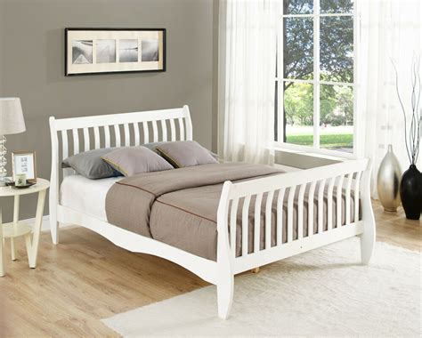 wood futon frame pine sleigh bed frame white or 4ft6 size