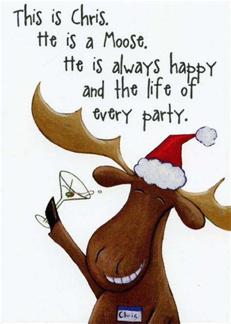chris  moose funny christmas card  recycled paper
