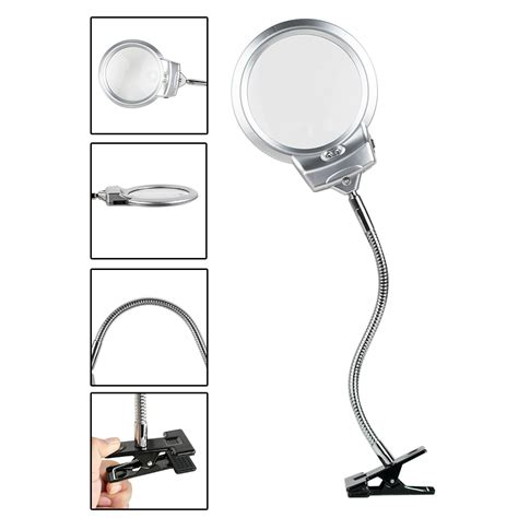 table top magnifying glass with light clip lighted table top desk magnifier l led light
