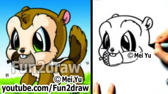 easy cartoon drawings how to draw animals chipmunk drawing step by step fun2draw youtube