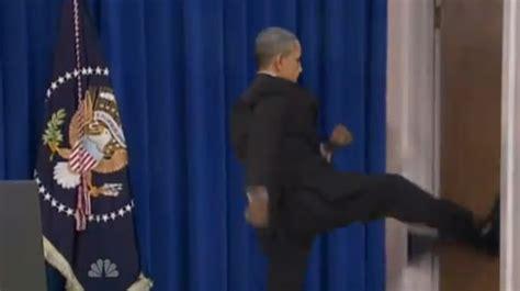 Obama Kicks Door by Angry President Obama Vs Kicks Door Open Leaving Press
