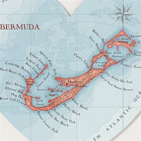 printable road map of bermuda bermuda map heart print by bombus off the peg