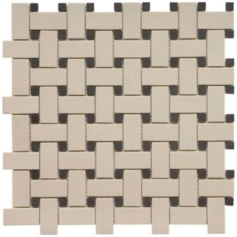 merola tile old world basket weave antique whiteand black 12 in x 12 in unglazed porcelain