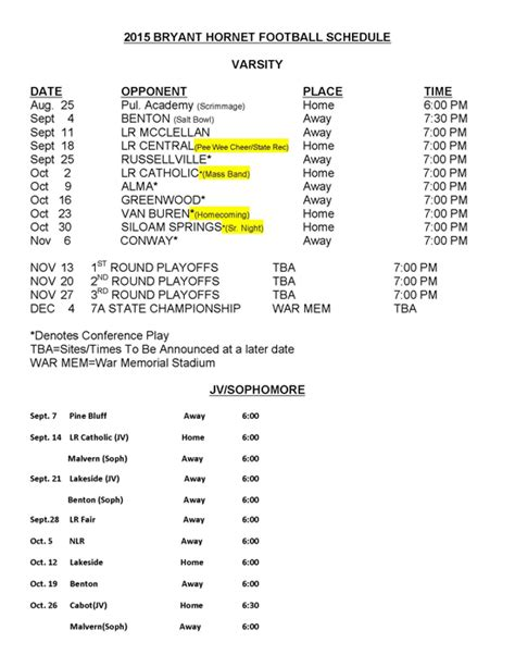 printable hornets schedule 2015 hornets football schedule released bryant daily