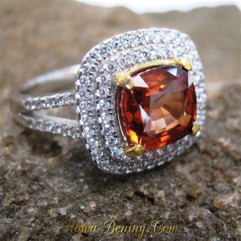 Cincin Oranye cincin permata zircon alami silver 925 ring 8us untuk