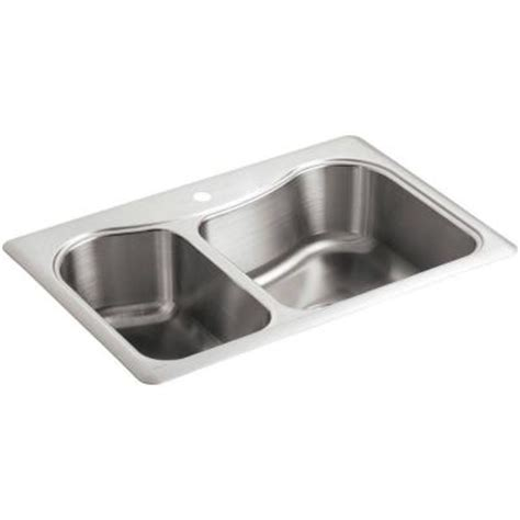 kohler staccato top mount stainless steel 33 in 1