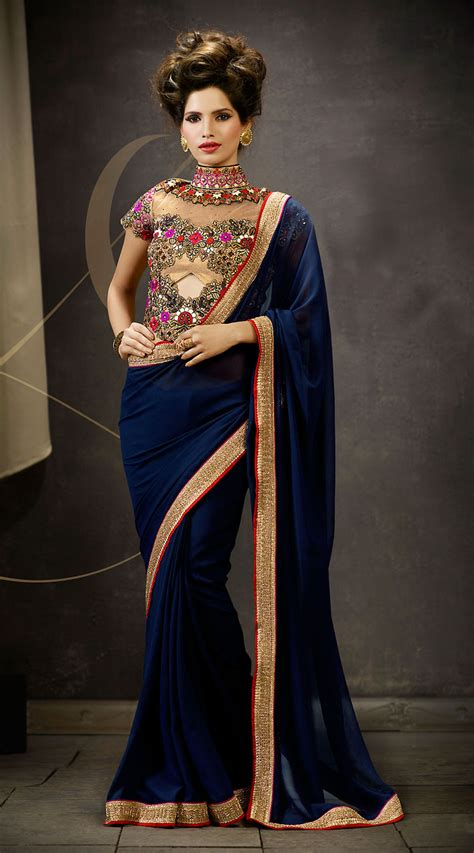 Blouse Designs For Heavy Sarees by 5 Awesome Border Sarees With Designer Blouse Ideas