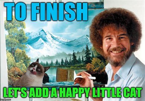 bob ross painting generator happy cat bob ross week imgflip