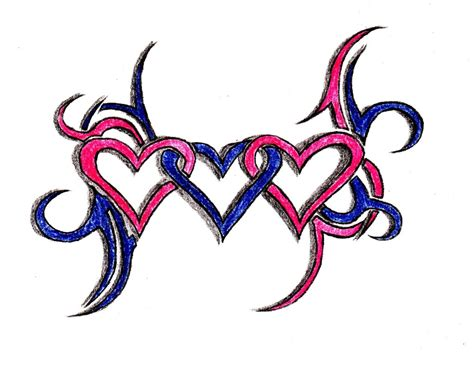three heart tattoo designs 3 hearts intertwined www imgkid the image