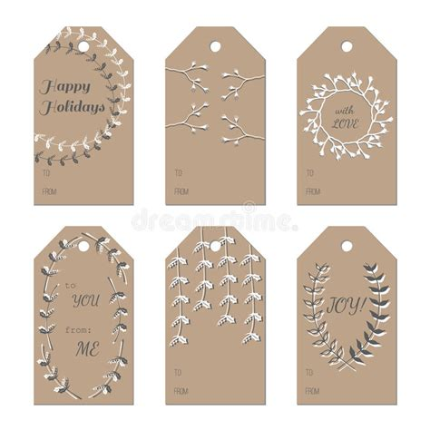 new year name tags new year holidays gift tags set stock vector