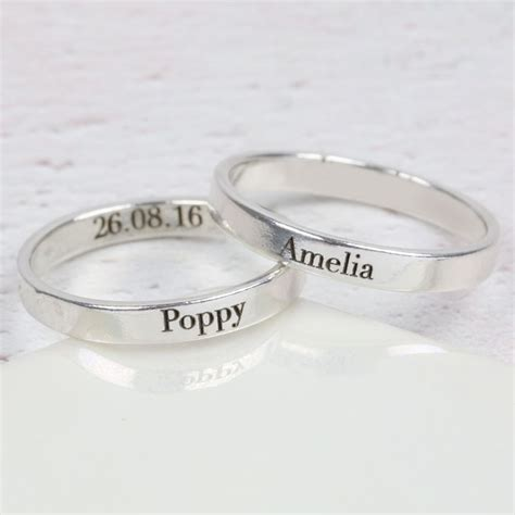 Ring Nama personalised engraved sterling silver name ring