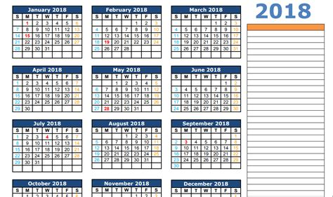 printable calendar 2018 excel 2018 calendar excel template