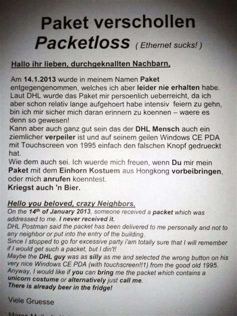Beschwerdebrief An Dhl Einhornkost 252 M Berlin