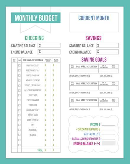 print blank monthly budgeting templates calendar