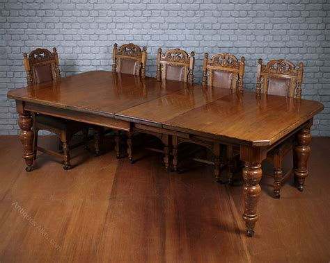 10 Seat Pine Oak Extending Dining Table C 1895 10 Seating Dining Table