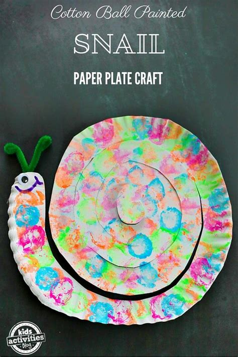 Snail Paper Plate Craft - cotton painted snail paper plate craft motor