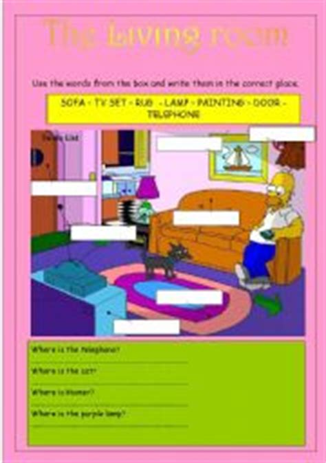 Living Room Parts by Teaching Worksheets Living Room
