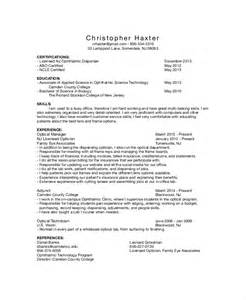 Description Of An Optician by Image Gallery Optician Resume