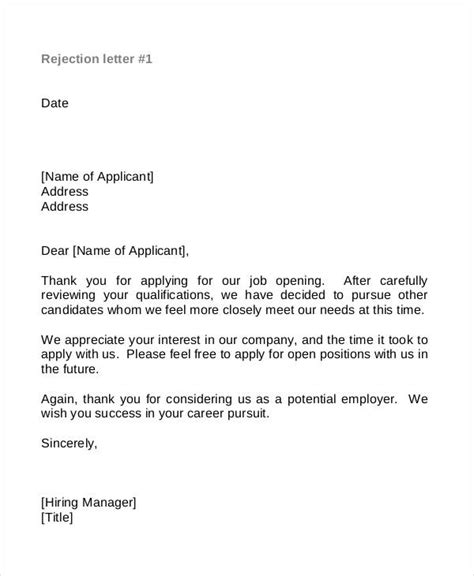 Employment Rejection Thank You Letter Sle Thank You Letters 52 Free Word Pdf Documents