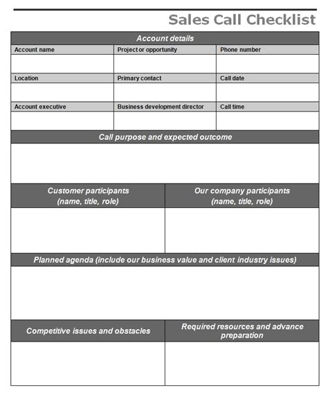 sle of a checklist template sales call checklist