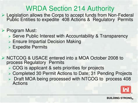 Section 408 Usace by Ppt Section 408 Approval Process New 408 Regional General Permit Powerpoint Presentation