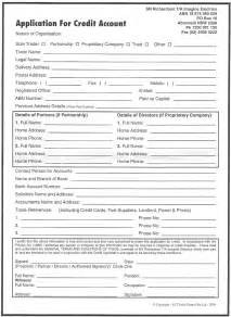 credit application form free printable documents