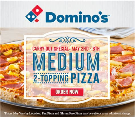 domino pizza offer today domino s pizza canada offers get medium 2 topping pizza