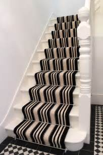 Striped Carpets On Stairs by Black And White Striped Stair Carpet The Flooring Group