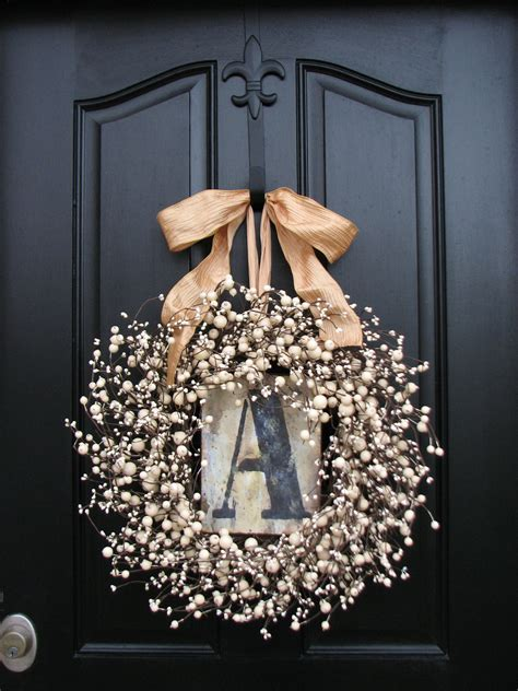 Initial Front Door Wreaths Wreaths Monogram Wreath Wreath For Door Personalized