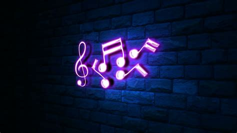 animation of notes in neon light at wall with blue