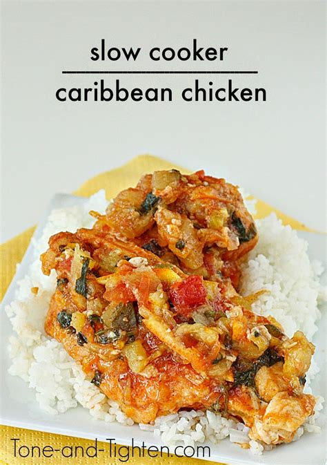 slow cooker healthy caribbean chicken recipe tone and