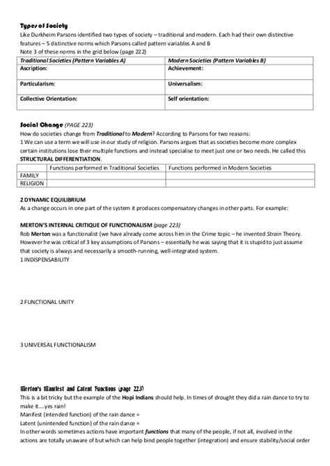 parsons pattern variables modern traditional societies functionalism work sheet