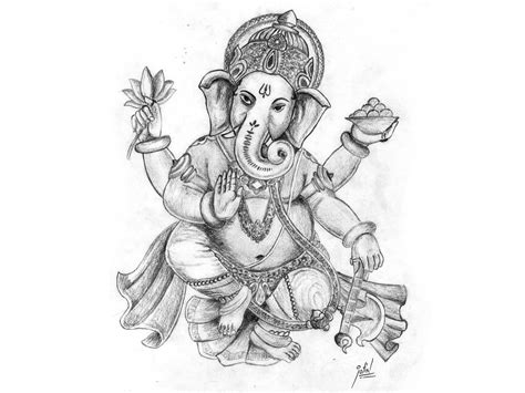 black and white wallpaper of god lord ganesha painting hd wallpaper