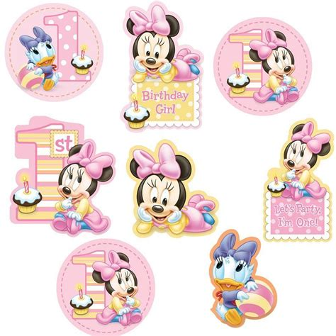 Duck Baby Shower Supplies - 12 disney baby minnie mouse happy 1st birthday cutout decorations ebay