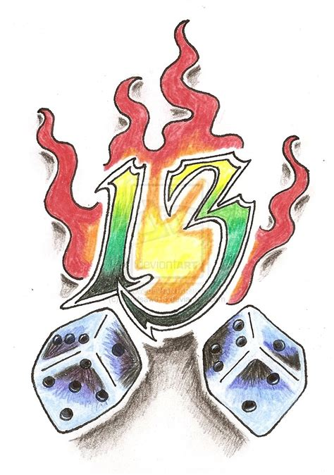 13 tattoo designs flaming dice 13 by bandsaw013 on deviantart