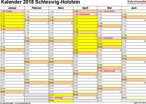 Kalender 2018 Mit Feiertagen Schleswig Holstein Kalender 2018 Schleswig Holstein Ferien Feiertage Word