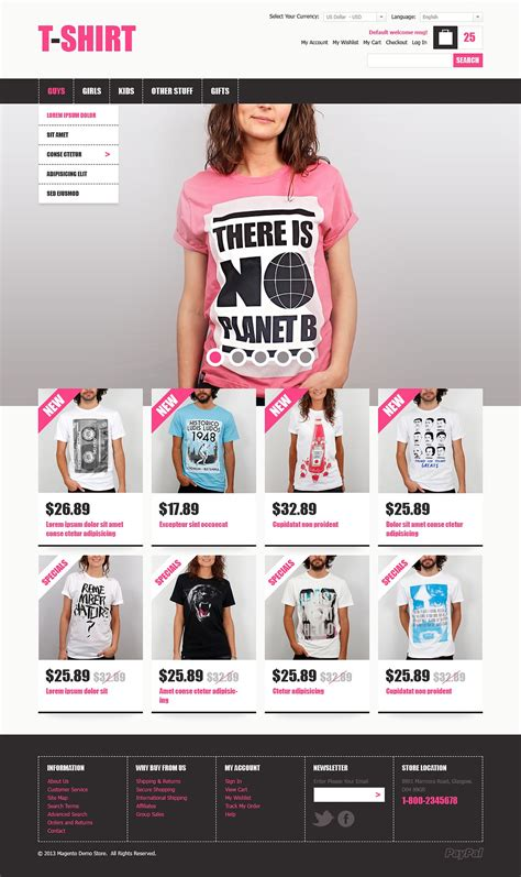 Creative T Shirts Magento Theme Web Design Templates Website Templates Download Creative T Ecommerce T Shirt Website Templates