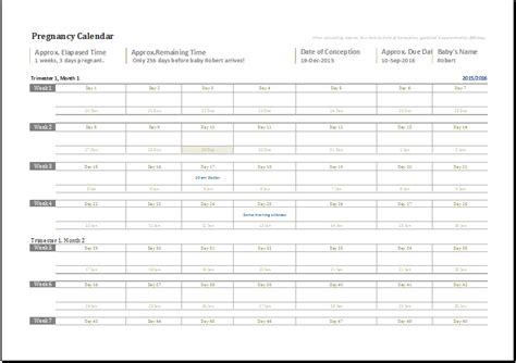 Pregnancy Calendar 2014 Ms Excel Pregnancy Calendar Editable Printable Template