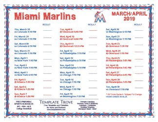 printable  miami marlins schedule