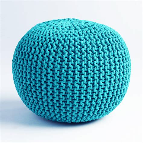 teal pouf ottoman cable knit pouf teal from dot bo