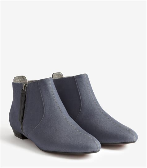 reiss lara flat denim ankle boots in blue lyst