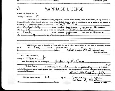 Marriage Records For Missouri Missouri Marriage License Certificate Some Only