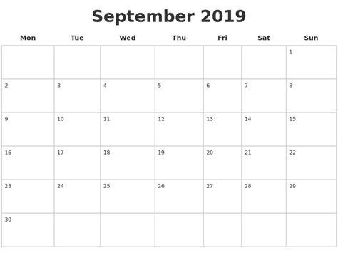 september 2019 calendar printable monthly calendar 2017 pdf