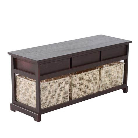 storage bench cherry homcom 40 3 drawer 3 basket storage bench cherry brown