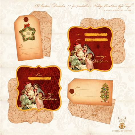 free printables vintage christmas gift tags double