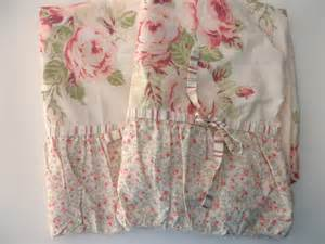 two shabby chic pillow shams floral cotton pink