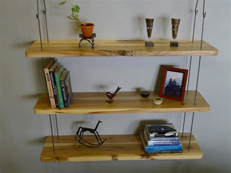 rustic hanging wood shelves