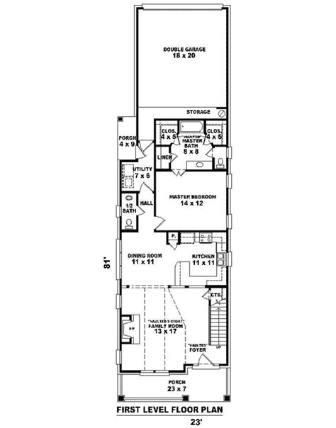 narrow house floor plans narrow house plans with garage cottage house plans